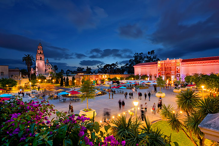 Balboa Park at Night in San Diego CA
