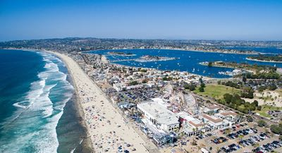 Aerial of Mission Beach and the Belmont Park attraction and Mission Bay
