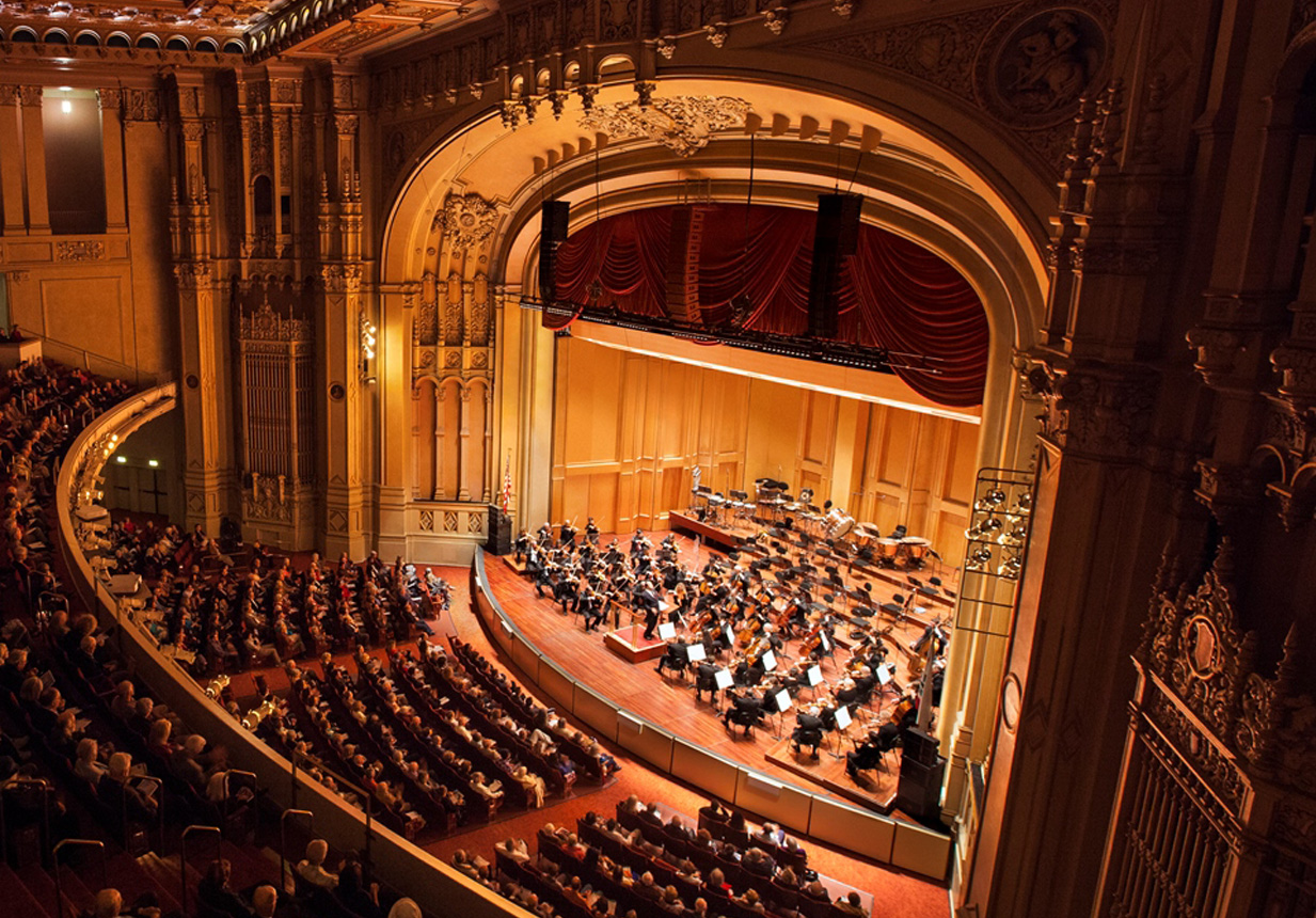 Top down view of the San Diego Symphony in action