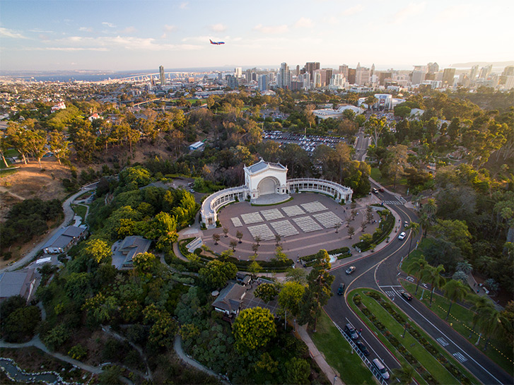 Aerial view of the Balboa Park Organ Pavilion in San Diego CA