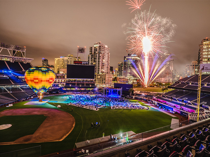 Petco Park in San Diego at Night with Fireworks