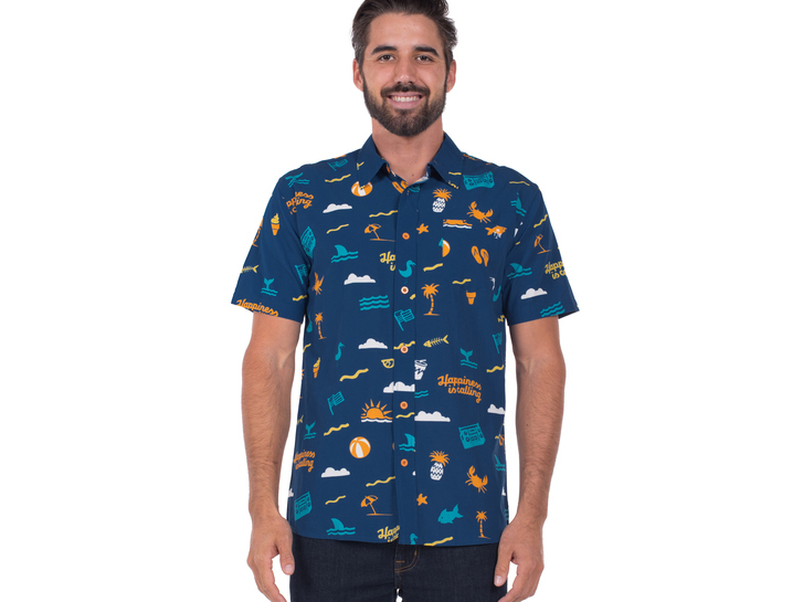 Guy in a Happiness is Sailing shirt