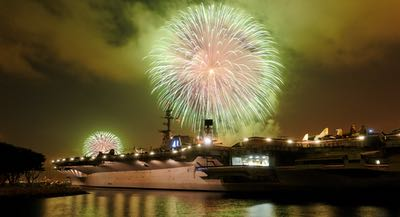 Fireworks over the USS Midway Museum in Downtown San Diego