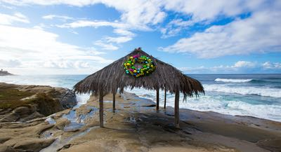 Windansea Shack in La Jolla decorated with a Christmas wreath