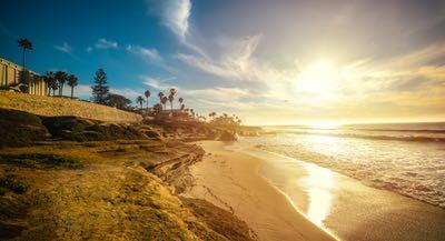 Sunset at a La Jolla Beach in January