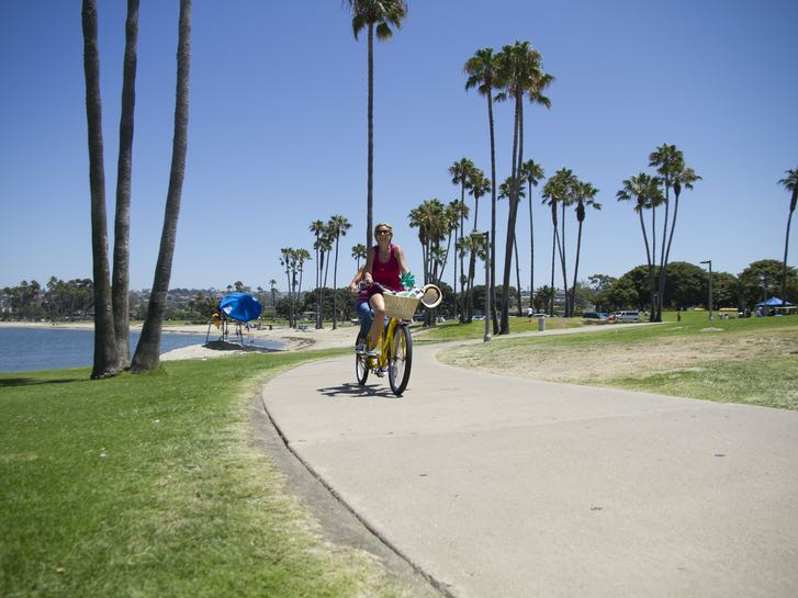 Bikers on a Misison Bay paved trail