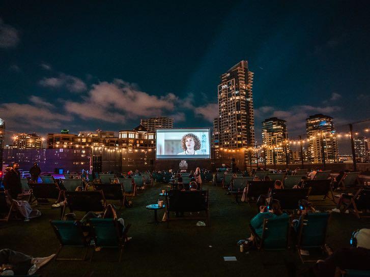Rooftop Cinema at Night