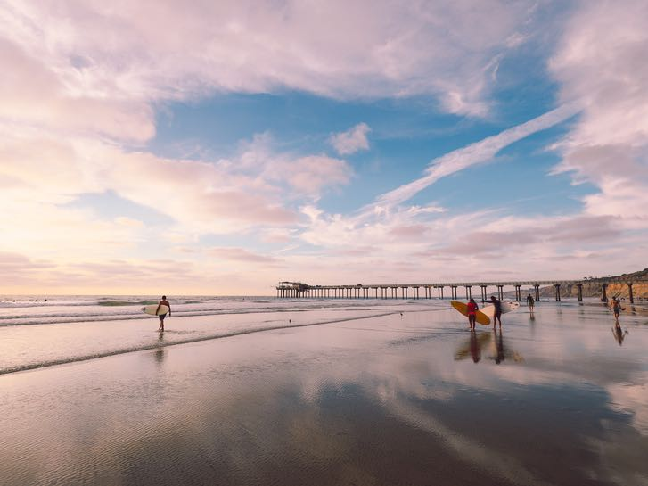 Surfers at La Jolla Beach in San Diego