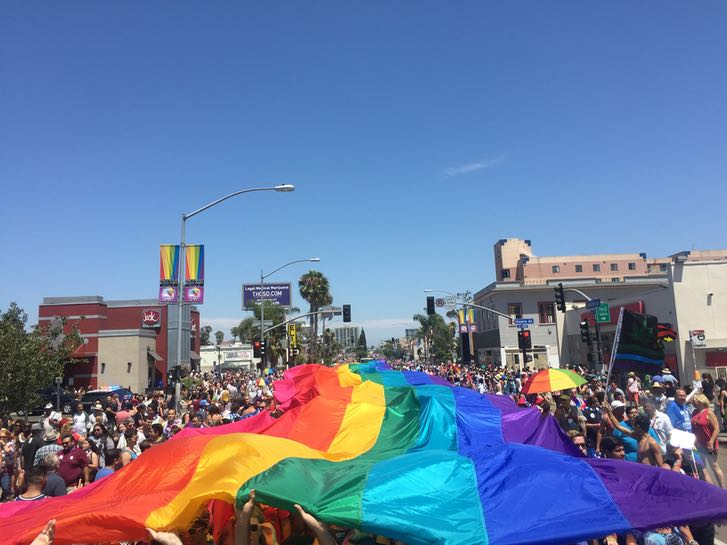 Rainbow flag at the San Diego Pride Parade in July