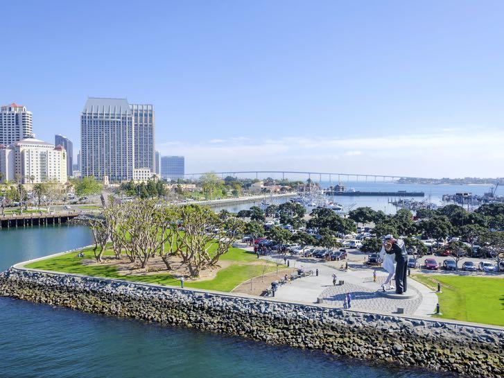 Aerial of Tuna Harbor Park along the Embarcadero