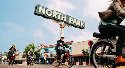 Bikers in historic South Park neighborhood San DIego