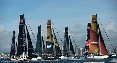 Extreme sailing boats on San Diego Bay