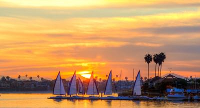 Sailboats on Mission Bay at Sunset - Autumn is Awesome in San Diego