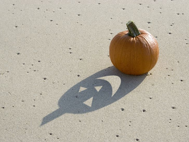 Pumpkin on the Beach for Halloween