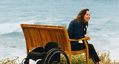 Utilizing an accessible wheel chair to get close to the ocean in San Diego CA