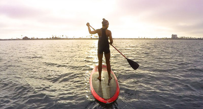 Paddle boarding off the shores of San Diego CA
