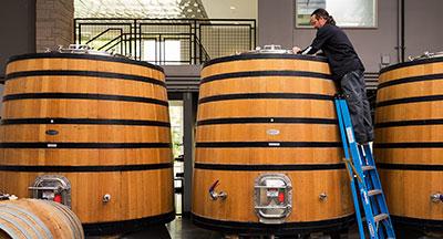 Barrels in a tasting room in San Diego CA