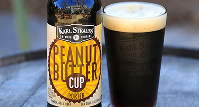 Bottle & glass of Karl Strauss Peanut Butter Cup Craft Beer