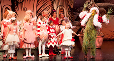 A scene from the Grinch Who Stole Christmas playing at the Historic Old Globe Theater in San Diego CA Balboa Park