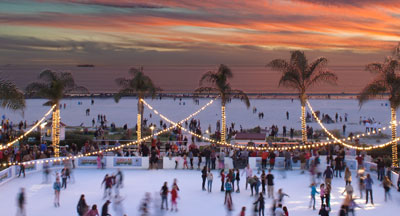 Winter Outdoor Ice Skating at the Hotel Del Coronado, San Diego County, CA