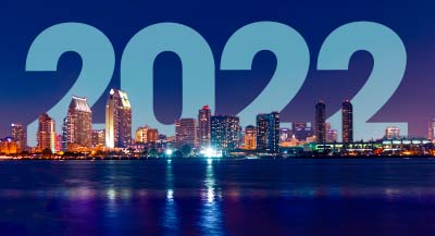 Nighttime San Diego CA skyline with 2018 superimposed - Happy New Year!