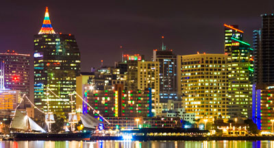 Colorful night skyline of San Diego CA during annual Parade of Lights
