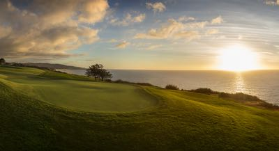 View of the Pacific Ocean at Sunset from the South Course at Torrey Pines Golf Course