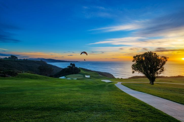 Paraglider over Torrey Pines Golf Course