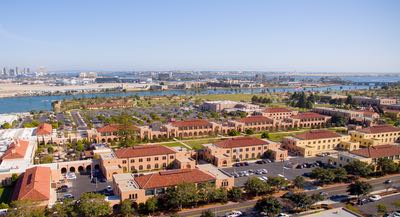 Aerial view of Liberty Station on the Point Loma Peninsula in San Diego