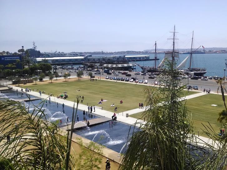 Aerial of San Diego County Water Front Park and the Maritime Museum of San Diego