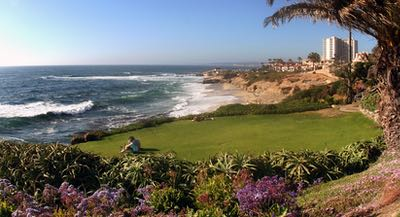 Couple on a lawn overlooking La Jolla Cove