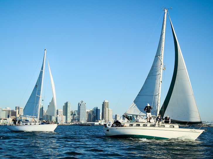 Boats crossing in front of the city skyline.