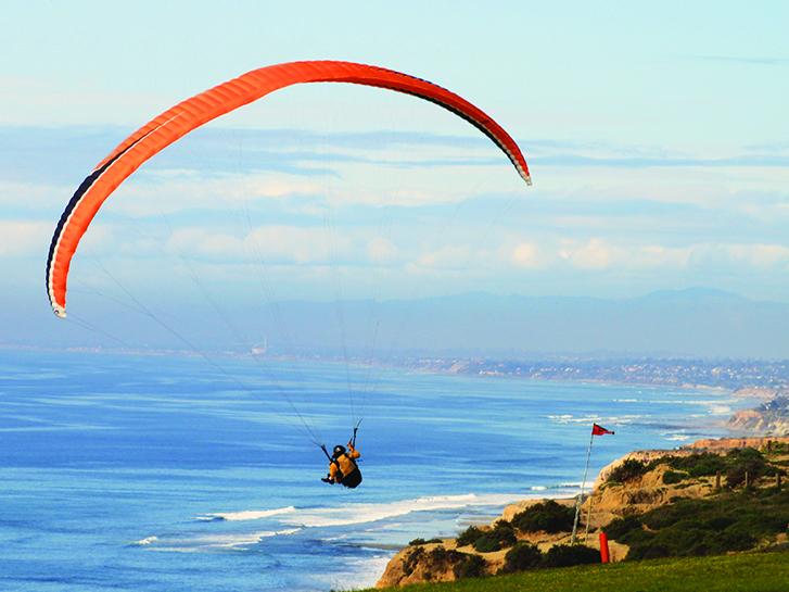 Hang Gliding over Torrey Pines Beach, La Jolla, Ca.