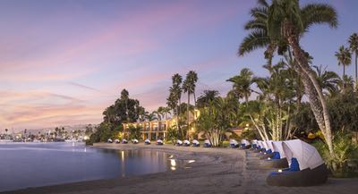 On the beach at dusk at Bahia Resort