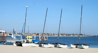 Sailboats on the shores of Mission Bay in San Diego CA