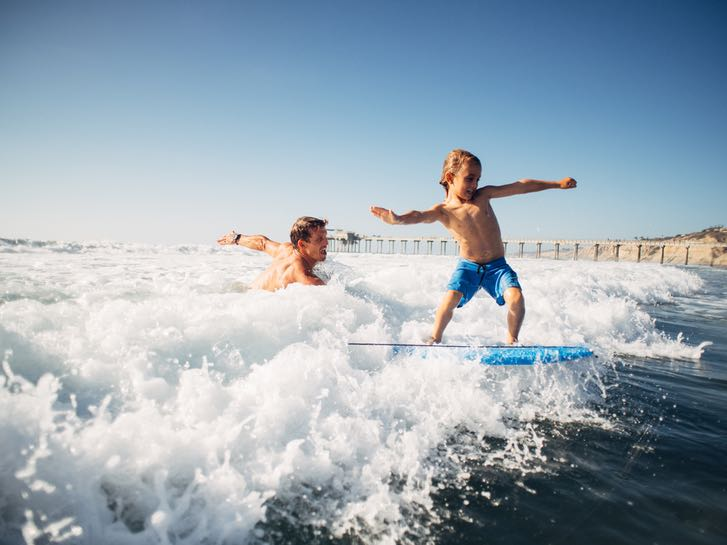 Father and Son Surfing on the water in San Diego