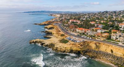 Aerial of Sunset Cliffs along this one day San Diego coastal road trip