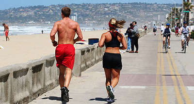 Running on the Boardwalk in Mission Beach