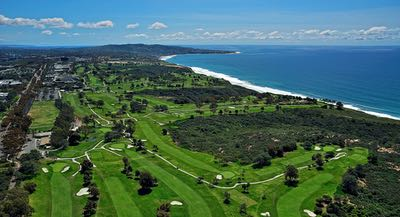 Aerial of Torrey Pines Golf Course in San Diego