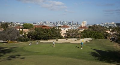 The Loma Club golf course overlooking downtown San Diego