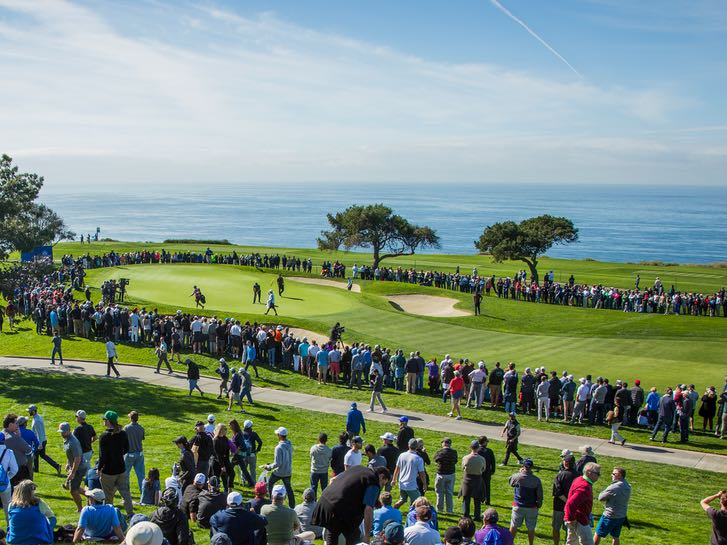Crowds watching the Farmers Insurance Open at Torrey Pines Golf Course in San Diego