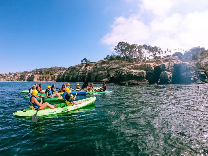 Group of kayakers in La Jolla