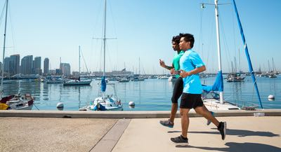 Running along the San Diego Bay